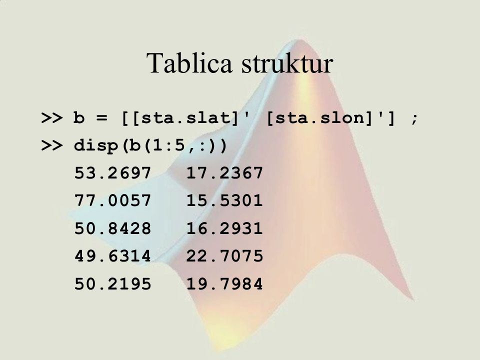 Tablica struktur >> b = [[sta.slat] [sta.slon] ] ;